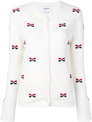 Thom Browne Bow Intarsia Cashmere Cardigan