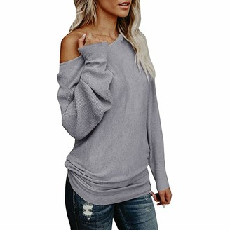 Lazzboy Womens Sweater Tops Knitted Off The Shoulder Long Sleeve Plain Loose Pullover UK 8-14(M(10)