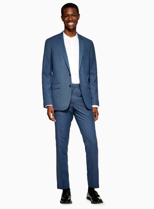 Topman Blue Two Tone Skinny Fit Suit Trousers
