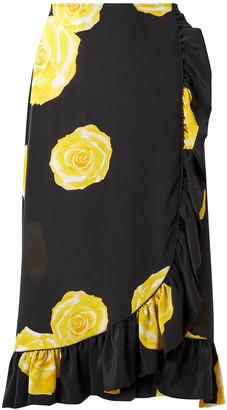 Ganni Wrap-effect Floral-print Washed-silk Midi Skirt