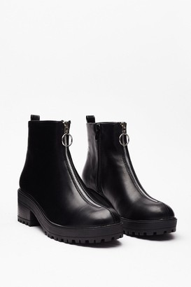 Nasty Gal Womens Best Boot Forward Faux Leather Zip Boots - Black