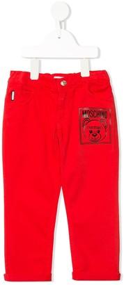 MOSCHINO BAMBINO Bear Logo Print Turn-Up Cuff Jeans
