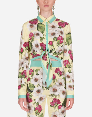 Dolce & Gabbana Rose-Print Charmeuse Shirt With Knot Detail
