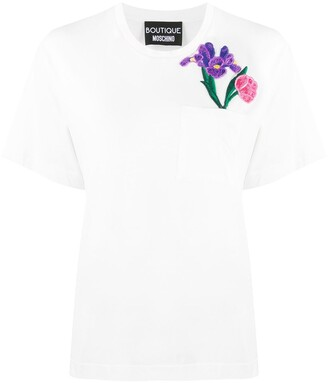 Boutique Moschino Cotton Applique-Flower T-Shirt