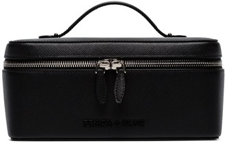 Prada Black Logo Lettering Leather Beauty Case