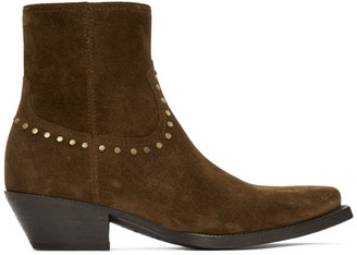 Saint Laurent Brown Suede Studded Lukas Boots