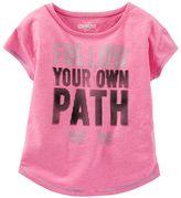 "Osh Kosh Girls 4-8 Follow Your Own Path"" Dot Graphic Neon Active Tee"