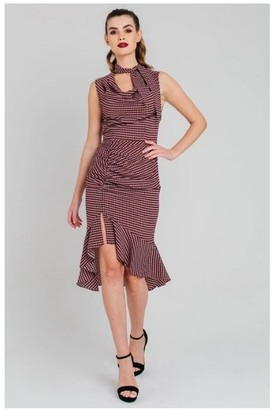 Pretty Darling Houndstooth Ruched Cowl Neck Midi Dress
