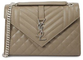 Saint Laurent Medium Envelope Monogram Matelasse Leather Shoulder Bag