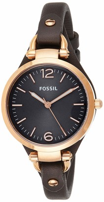 Fossil Women's Georgia Quartz Leather Three-Hand Watch Color: Silver Tan (Model: ES2830)