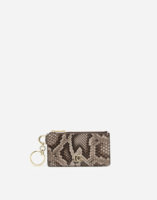 Dolce & Gabbana Python Leather Card Holder With Ring And Crossover Logo