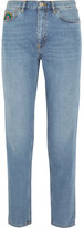 MiH Jeans Linda Embroidered High-rise Straight-leg Jeans - Mid denim