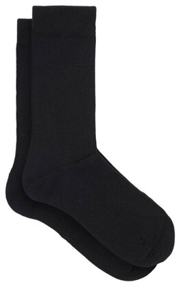 Falke Soft Wool And Cotton-blend Socks - Womens - Black