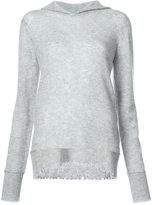 R 13 raw edge knitted hoodie