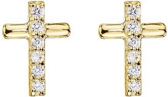 Love Gold 9ct Gold Cubic Zirconia Cross Stud Earrings