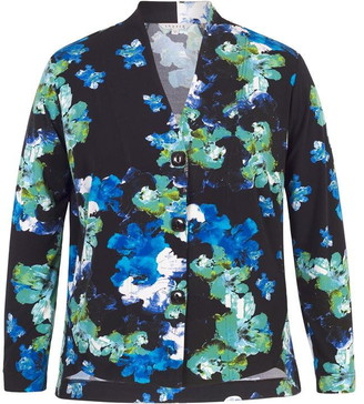 Chesca Cobalt Abstract Floral Jersey Print Shrug