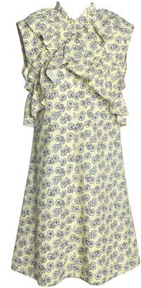 Marni Crossover Ruffle-trimmed Floral-print Cotton-poplin Dress