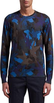 Etro Men's Pegasus Camo Silk-Cashmere Sweater