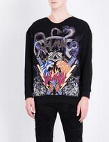 Balmain Animal and logo-embroidered cotton-jersey sweatshirt