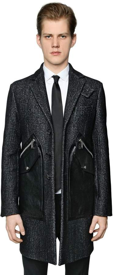 DSQUARED2 Tokyo Wool Coat W/ Leather Pockets