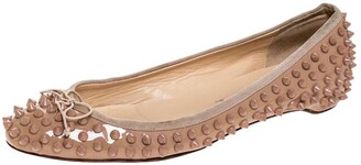 Christian Louboutin Beige Patent Leather Spike Pointed Toe Ballet Flats Size 39