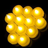Shine 12 Flickering Candle Set Runs on Batteries Flickers Like a Real Candle Battery Operated Tealight Candles Flameless Candle Wedding Tea Light One Dozen Long Lasting Batterry Life