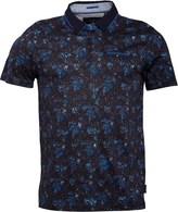 Ted Baker Mens Simorg Tropical Leaf Print Short Sleeve Polo Blue