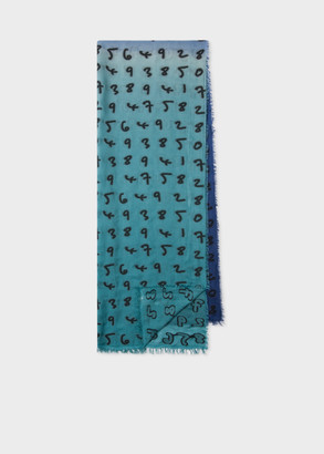 Paul Smith Two-Tone Blue 'Numbers' Modal-Cashmere Scarf