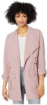 BB Dakota Microfiber Trench with Drape Front (Pale Pink) Women's Coat