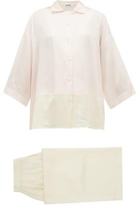 Jil Sander Colour Block Satin Pyjamas - Womens - Pink Multi