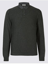M&S Collection Pure Cotton Textured Mock Shirt Jumper