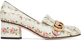 Gucci Marmont Fringed Floral-print Loafers - White
