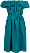 Paule Ka Teal Cotton And Silk Blend Dress
