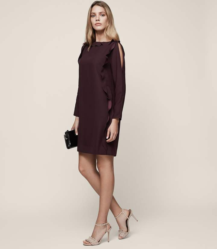 Reiss Neptune Ruffle-Sleeve Shift Dress
