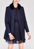 Tara Jarmon Coat With Faux Fur Collar Navy