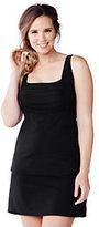 Classic Women's Plus Size Long Underwire Square Neck Tankini Top-Black