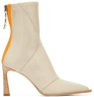 Fendi Patent Neoprene Ankle Boots - Womens - Cream