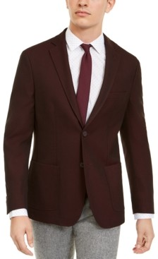 Bar III Men's Slim-Fit Burgundy Knit Sport Coat, Created for Macy's