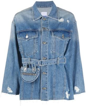 Sjyp Pocket Belted Denim Jacket