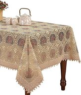 Simhomsen Custom Vintage Beige Tablecloth Linen Embroidered Floral Lace Pattern Translucent Gauze Square 54 Inch long
