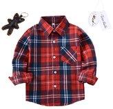 Tortor 1bacha Little Girls' Long Sleeve Button Down Plaid Shirt Fleece Lined