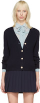Miu Miu Navy Pearl and Crystal Cardigan