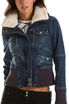 Sherpa Collar Denim Bomber Jacket