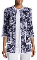 Misook Floral-Print 3/4-Sleeve Jacket, Petite