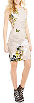 GUESS Shane Floral Print Knit Sheath Dress