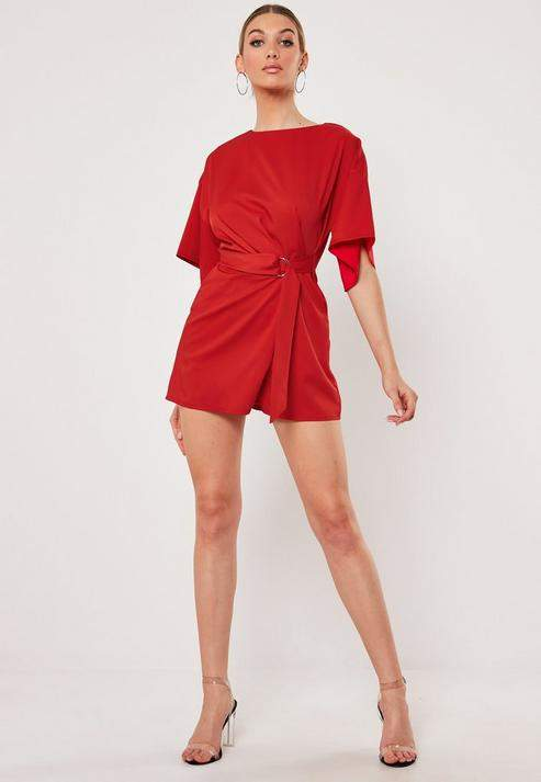 Missguided Red D Ring Short Sleeve Romper