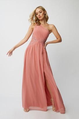 Little Mistress Bridesmaid Corrina Desert Rose Lace-Applique One-Shoulder Maxi Dress