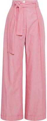 Nina Ricci Belted Cotton-chambray Wide-leg Pants