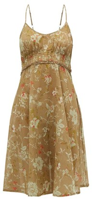 Hotel Particulier La Costa Del Algodon - X Regina Floral Cotton Dress - Womens - Brown Print