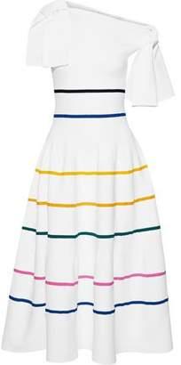 Carolina Herrera Off-the-shoulder Striped Stretch-knit Midi Dress